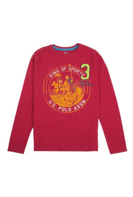884f97b7 Buy US Polo Kids Medium Red Graphic Print T-Shirt for Boys Clothing Online  @ Tata CLiQ