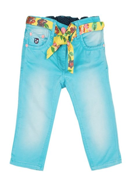 434a0387d Buy US Polo Kids Turquoise Solid Capris for Girls Clothing Online   Tata  CLiQ
