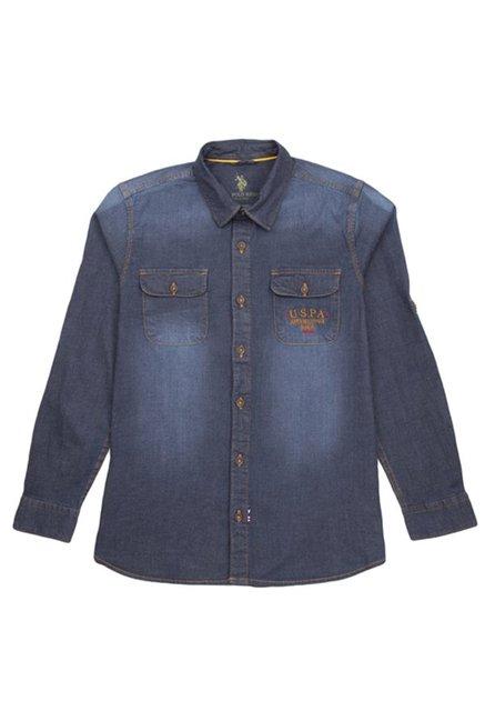 079147207 Buy US Polo Kids Dark Blue Solid Shirt for Boys Clothing Online   Tata CLiQ