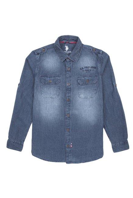 d443d6b4111 Buy US Polo Kids Scuba Blue Solid Shirt for Boys Clothing Online ...