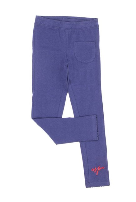 be0e484f5 Buy US Polo Kids Uspa Blue Solid Trackpants for Girls Clothing Online   Tata  CLiQ