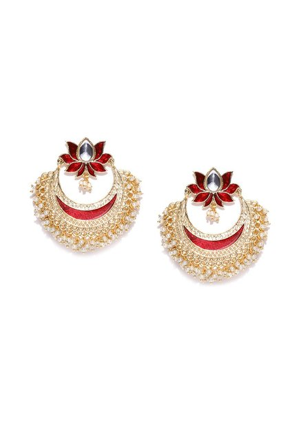 Buy Panash Golden Brass Chand Bali Earrings Online At Best Price
