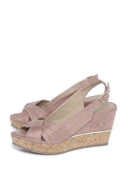 5b44cd4a2e3a5 Buy LUNA BLU by Westside Blush Pink Wedge Heel Sandals For Women ...