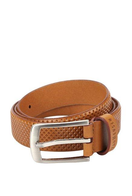 Van Heusen Tan Textured Leather Narrow Belt