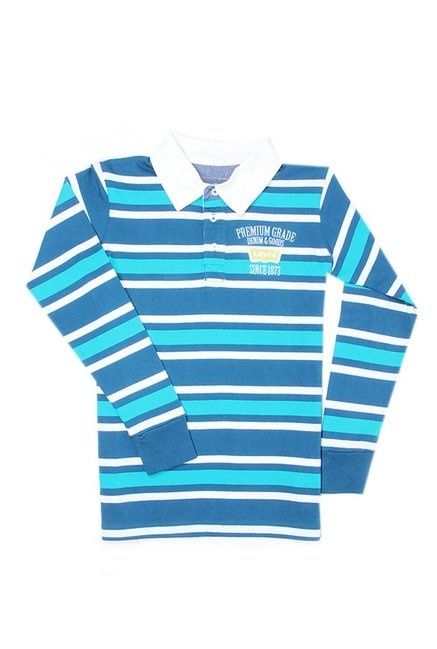 95043d85 Buy Levi's Blue & Red Striped Polo T-Shirt for Boys Clothing Online @ Tata  CLiQ