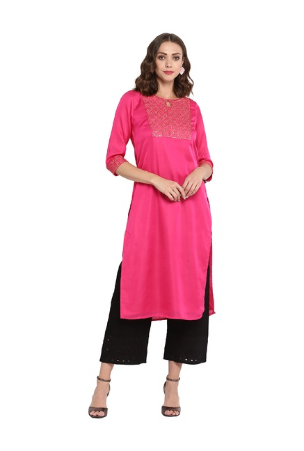 Juniper Magenta Embroidered Silk Kurta