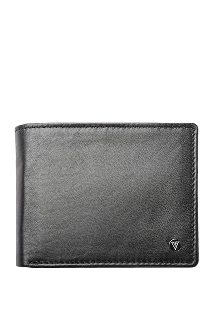 Van Heusen Black Solid Leather Bi-Fold Wallet