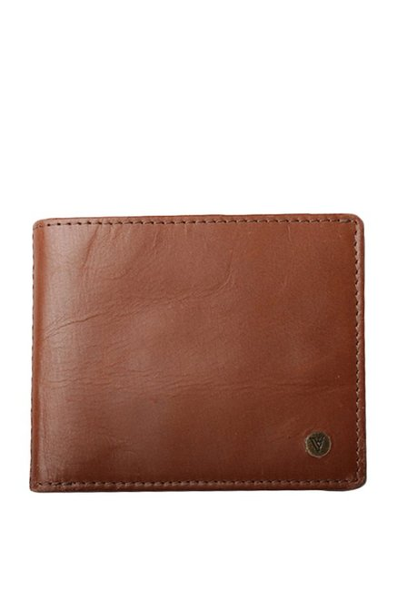 Van Heusen Tan Solid Leather Bi-Fold Wallet