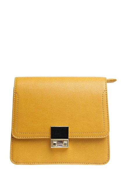 Van Heusen Mikado Yellow Solid Flap Sling Bag
