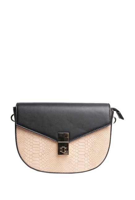 Van Heusen Beige Textured Flap Sling Bag