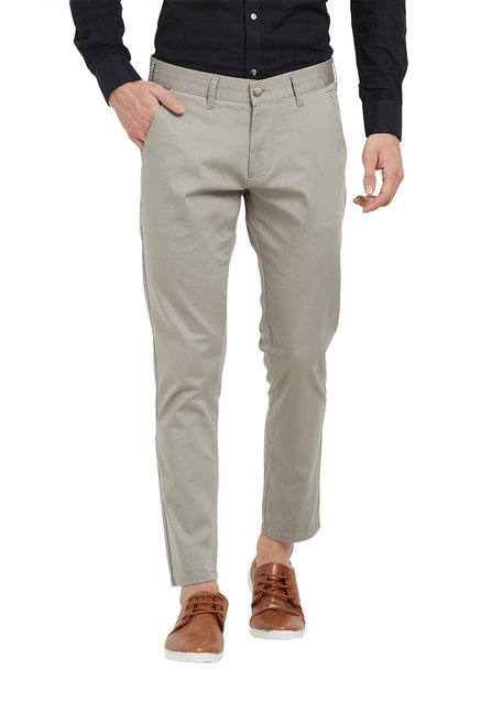 8434788d799 Buy Easies Light Grey Mid Rise Cotton Trousers for Men Online ...