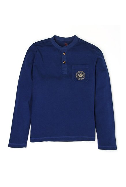 6df7e7a8cc2 Buy US Polo Kids Navy Solid T-Shirt for Boys Clothing Online   Tata CLiQ