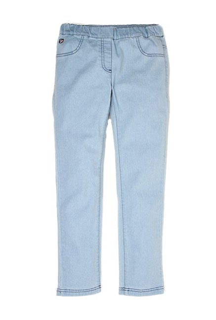 50fb1b57d Buy US Polo Kids Blue Solid Jeggings for Girls Clothing Online   Tata CLiQ
