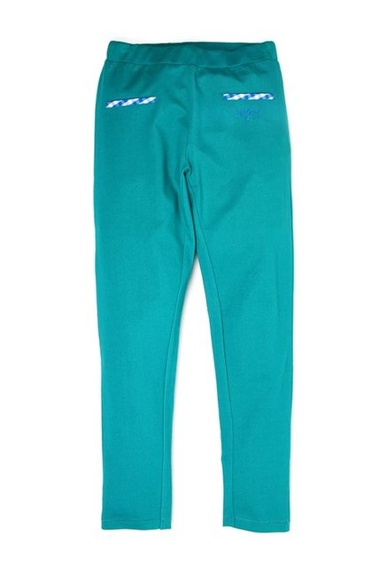 af70eb5f9 Buy US Polo Kids Teal Solid Trousers for Girls Clothing Online   Tata CLiQ