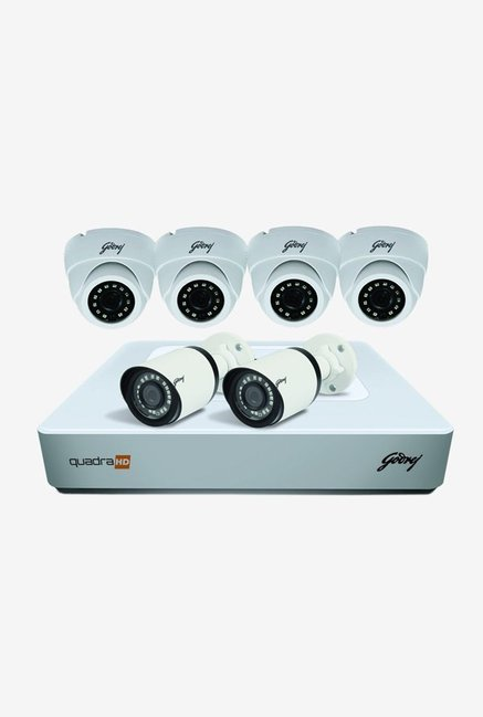 Godrej 1080P See Thru 8 Channel 4 Dome 2 Bullet Cameras HD Full CCTV Camera Kit  White