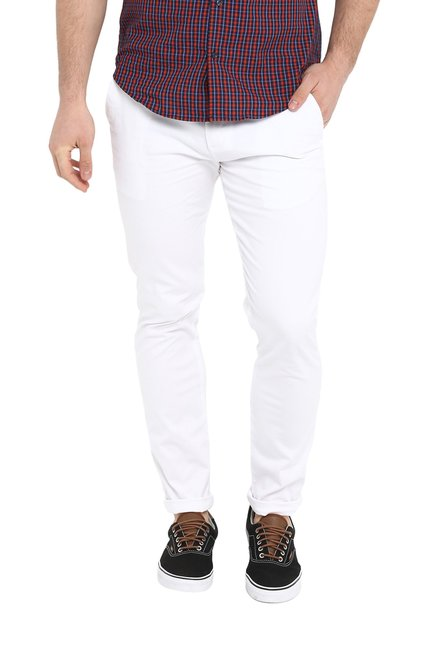 Red Tape White Skinny Fit Mid Rise Chinos