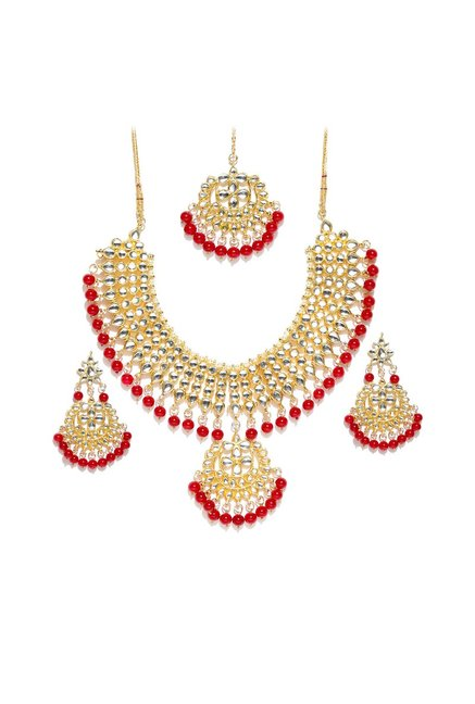 Peora Golden Brass Necklace, Earring & Maang Tikka Set
