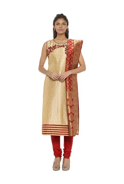 Soch Beige & Red Embroidered Salwar With Kurta