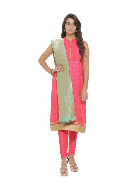 Soch Pink Printed Silk Salwar With Kurta