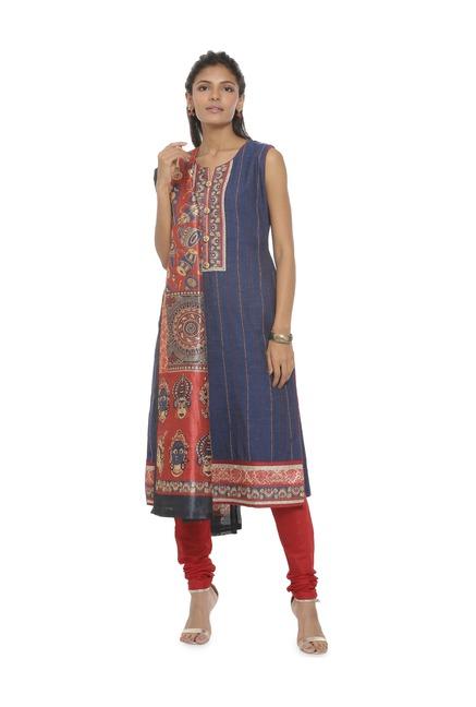 Soch Blue & Red Printed Cotton Salwar With Kurta