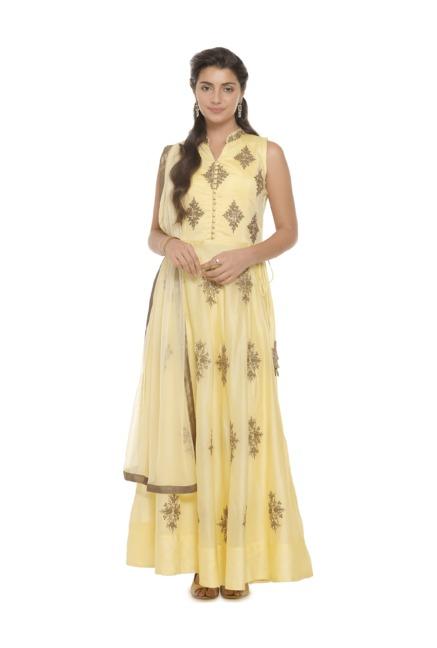 Soch Yellow Embroidered Salwar With Anarkali Kurta