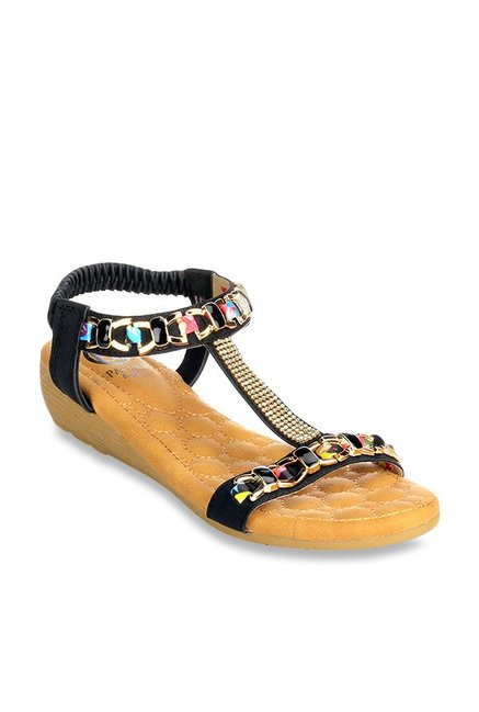 b8d559635 Buy Pavers England Black Sling Back Wedges for Women at Best Price @ Tata  CLiQ