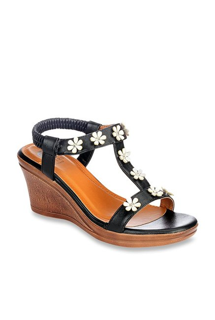 e60a9df461 Buy Pavers England Black Sling Back Wedges for Women at Best Price @ Tata  CLiQ