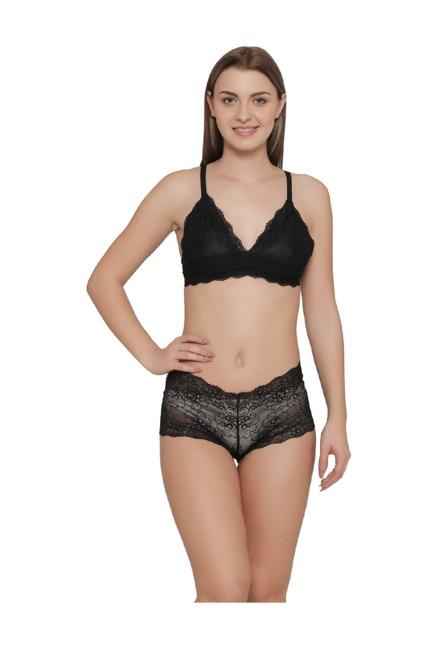 Buy Clovia Black Non Padded Lingerie Set for Women Online   Tata CLiQ 9ad1919d8