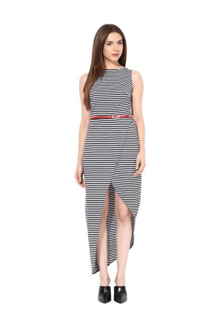 da0a816d74bb7 Buy Miss Chase White   Black Striped Maxi Dress for Women Online ...