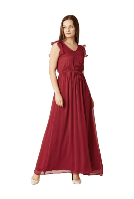 939e1a3d452 Buy Miss Chase Red Slim Fit Maxi Dress for Women Online   Tata ...