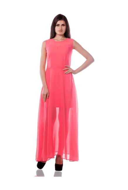 5e01eeb0f99 Buy Miss Chase Pink Loose Fit Maxi Dress for Women Online   Tata CLiQ