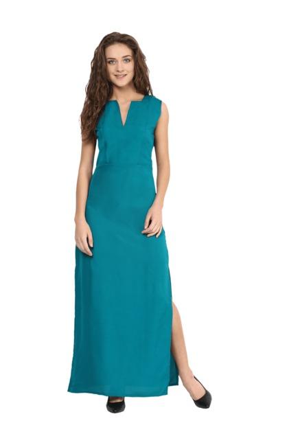 c63cbd18ec3e Buy Miss Chase Teal Slim Fit Maxi Dress for Women Online   Tata CLiQ