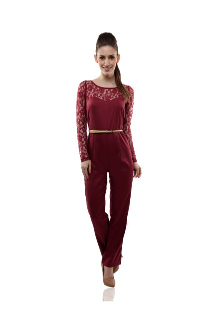 b0a8d6a7c162 Buy Miss Chase Maroon Lace Jumpsuit for Women Online   Tata CLiQ