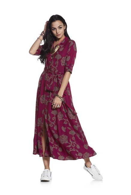 5d74011844036 Buy Bombay Paisley by Westside Wine Floral Shirtdress for Women Online    Tata CLiQ
