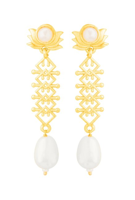 a2cb4b3b0 Buy Voylla Aztec Floral Golden Brass Dangler Earrings Online At Best ...