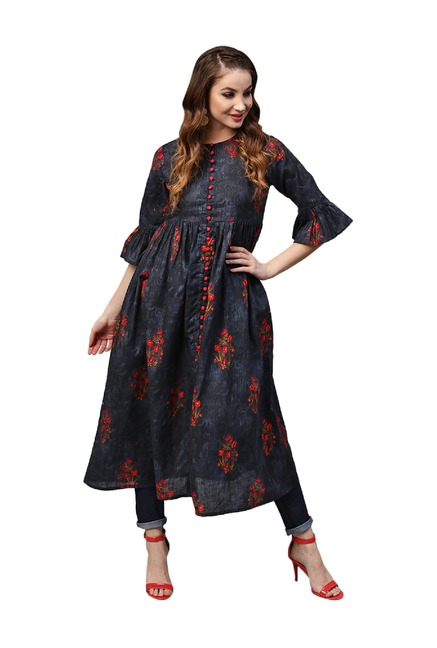 8f622f37baa Buy Gerua Navy Floral Print Cotton Anarkali Kurta for Women Online   Tata  CLiQ