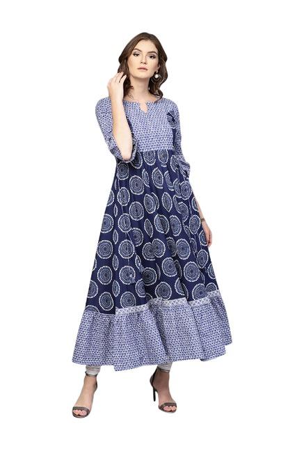 f21343a6a44 Buy Gerua Navy Printed Cotton Anarkali Kurta for Women Online   Tata CLiQ