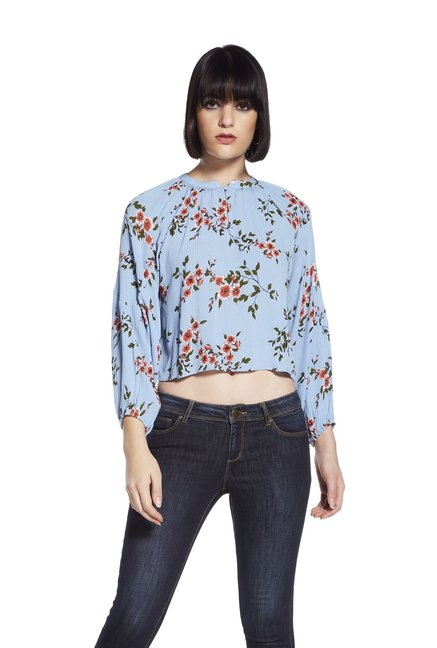 e2fcfc5b0c903 Buy Nuon by Westside Blue Leopold Cropped Blouse for Women Online   Tata  CLiQ