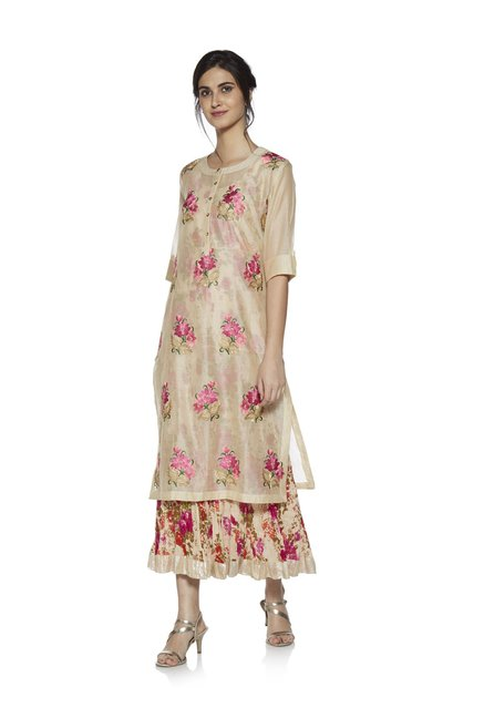 5dfb3c9df Buy Vark by Westside Beige Floral Maxi Dress Ethnic Set for Women Online @ Tata  CLiQ