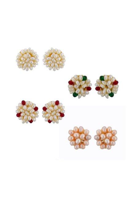 Sri Jagdamba Pearls Multicolor Alloy Stud Earrings   Set of 4