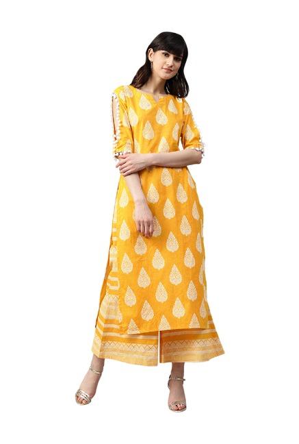f6a043e712 Buy Gerua Yellow Printed Cotton Kurta With Palazzo for Women Online @ Tata  CLiQ