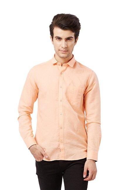 Buy Killer Peach Slim Fit Cotton Shirt for Men Online   Tata CLiQ 73904d6f9