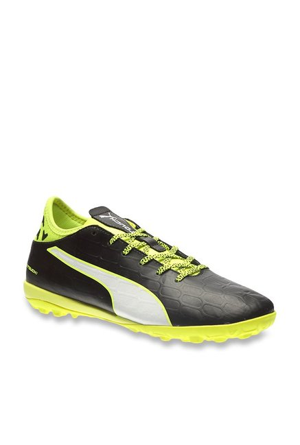 Puma evoTOUCH 3 TT Black   Safety Yellow Football Shoes