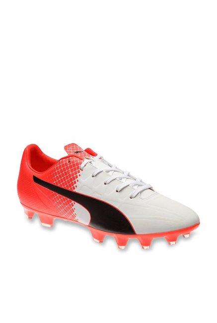 Puma evoSPEED 4.5 FG White   Red Blast Football Shoes