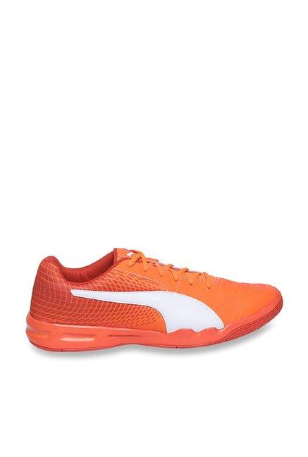 844a6e88ccb5 Buy Puma Veloz Indoor NG Shocking Orange   White Badminton Shoes for ...