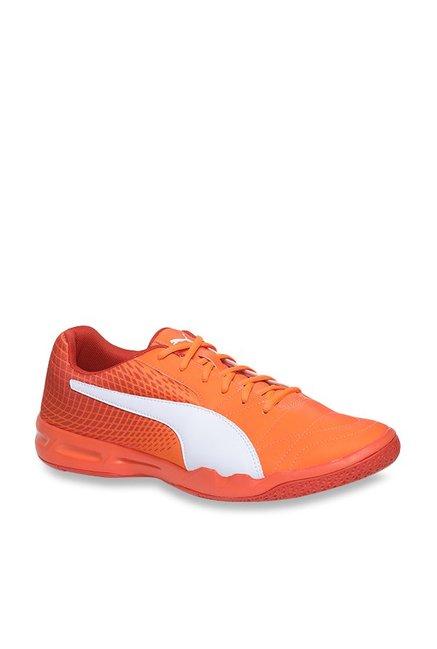 1fba73ec170b Buy Puma Veloz Indoor NG Shocking Orange   White Badminton Shoes for Men at  Best Price   Tata CLiQ