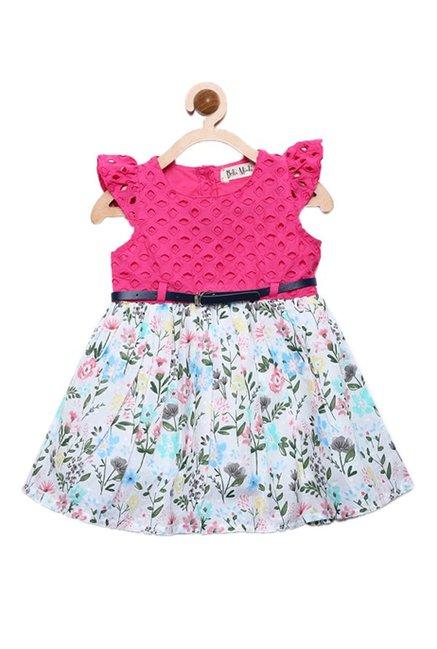 295ae3e0ff Buy Bella Moda Kids Pink & White Printed Dress for Infant Girls Clothing  Online @ Tata CLiQ