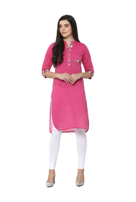 1d3675d914 Buy Soch Pink Regular Fit Cotton Kurta for Women Online @ Tata CLiQ