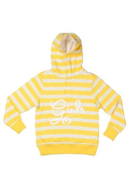 b6b99ef2e Buy Allen Solly Junior Yellow   White Striped Hoodie for Girls ...