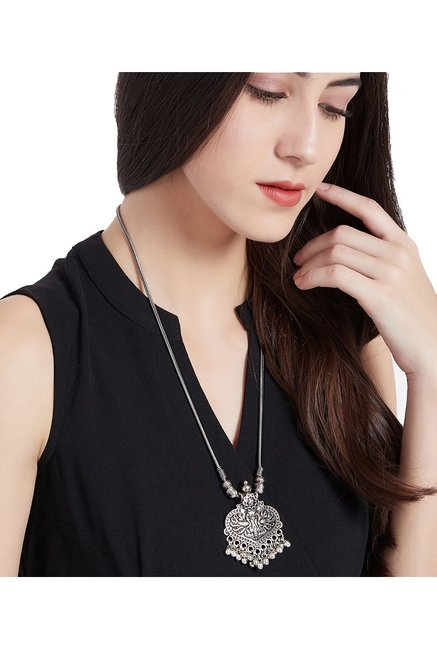 ZeroKaata Peacock with Bells Silver Alloy Casual Necklace
